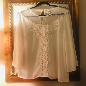 Umgee, size Medium, Lace/ embroidered top.